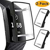 KIMILAR Screen Protector Case Compatible with Fitbit Charge 3 , 2 Pack Soft Slim Ultra Clear Protective Case Cover Bumper Silicone Case Compatible with Fitbit Charge 3 Smartwatch