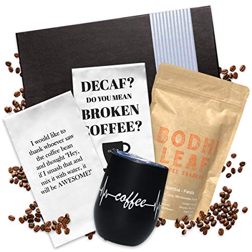 Coffee Gifts Basket- Includes Funny Insulated Coffee Mug, Coffee Inspired Hand Towels and Direct Trade Coffee | Coffee Gift Set for Women Men | Coffee Gifts Box Presented in Gift Box with Ribbon
