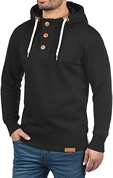 Emerayo Mens Fashion Trip Pullover Hoodie Sweater with Buttons Sweatshirts  Coat at Amazon Men's Clothing store