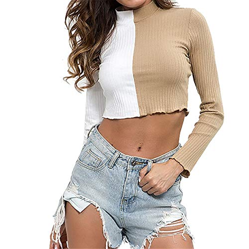 Sleeve Turtleneck Colorblock Casual Shirt Loose Tops Sexy Fashion Stand Neck Short Sweater ()
