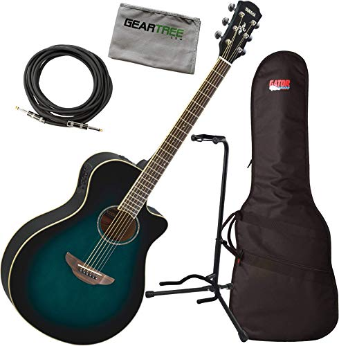 Yamaha APX600 OBB Thin Body Acoustic-Electric Guitar, Oriental Blue Burst w/Bag, Stand, Cloth, Cable
