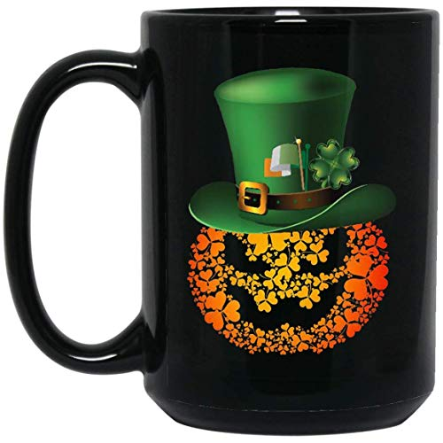 PUMPKIN HAT SHAMROCK ST PATRICK DAY 15 oz. Black Mug Pretty Design Funny Gift for Daughter Son Nephew Niece Halloween Festival Patrick's Day. ()