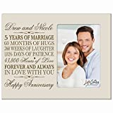 Personalized five year anniversary gift her him couple Custom Engraved 5th year wedding celebration for Husband wife girlfriend boyfriend frame holds 4x6 photo by LifeSong Milestones (Ivory)