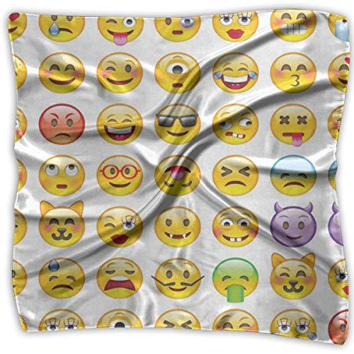 Square Scarf Cartoon Emoji Face Smiley Bandanas Unisex Neckerchief Tie For Woman