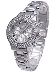 Sheli Platinum All Silver Stainless Steel Diamonds Accented Analog Quartz Bangle Watch for Women Wedding