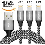 Besse iPhone Charger Cable - Lightning Cable - Gray - 3Pack - 3FT 6FT 10FT - iPhone power cord pack for X 8 8 Plus 7 7 Plus 6 6S 6 Plus 5S SE iPad iPod