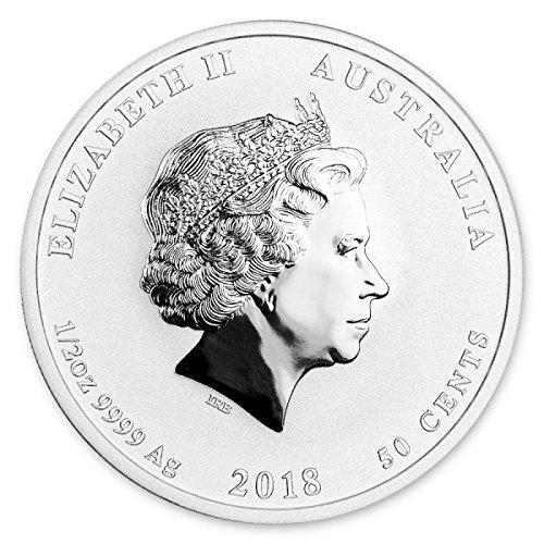 2018 AU 2018 Australia 1/2 oz Silver Lunar Dog BU $0.50 Brilliant Uncirculated