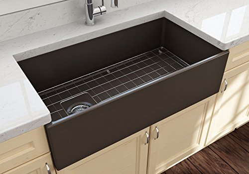 (Contempo Farmhouse Apron Front Fireclay 36 in. Single Bowl Kitchen Sink with Protective Bottom Grid and Strainer in M. Brown)