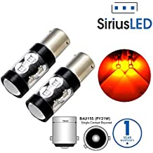 SiriusLED Super Bright 50W LED Bulbs with Projector for Front or Rear Turn Signals Blinker Backup Tail Light 7507 BAU15S Amber Yellow