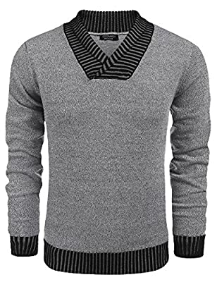 Coofandy Mens Casual V-Neck Knit Long Sleeve Pullover Sweater Slim Fit Knitwear