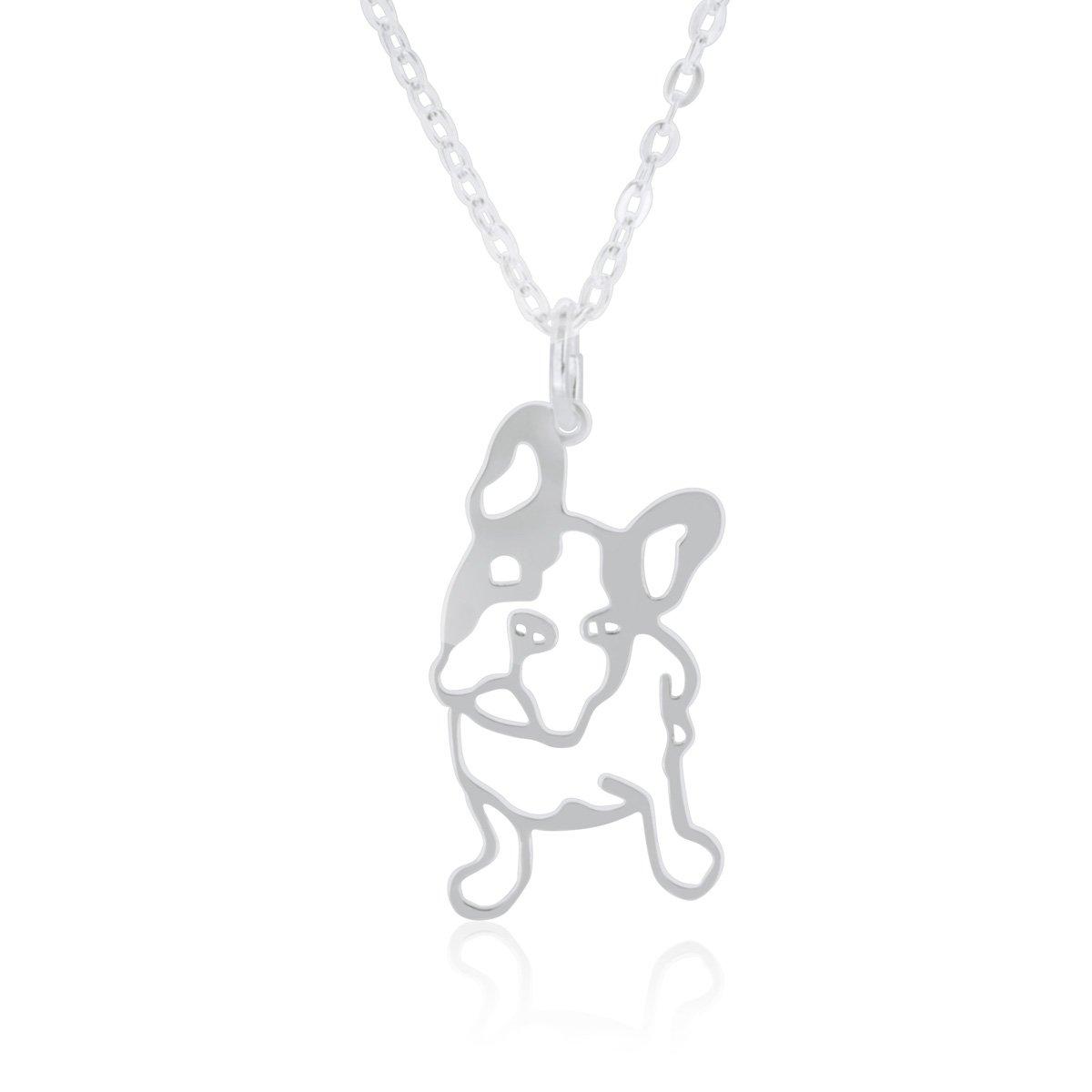 Halskette French Bulldog (Franzö sische Bulldogge) fü r Damen, Junge Mä dchen, hergestellt aus 925 Sterling Silber, Anhä nger Hund mit 40cm Kette, in Geschenkbox WANDA PLATA 953