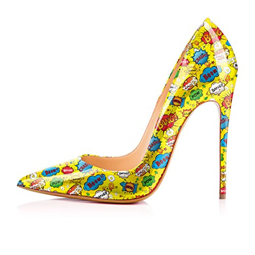 Yellow Pumps Slip Heels High Shoes Anime Women's Pattern Cow Printing YCG on OvxgTnF