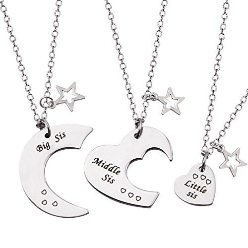 ENSIANTH 3 Pieces Big Sis Middle Sis Little Sis Jewelry Necklace Set with Star Charm Gift for Sister (Big Middle Little sis Necklace)