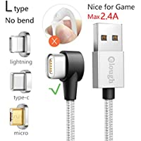 L-type 90 Degrees Multi Universal 3-in-1 Magnet Data Cable 3.3ft 2.4A 5V Lightning Type-C Micro-usb Quick Charger for Android cell phone iphone Samsung Huawei ZTE (L type 3in1 3.3ft)
