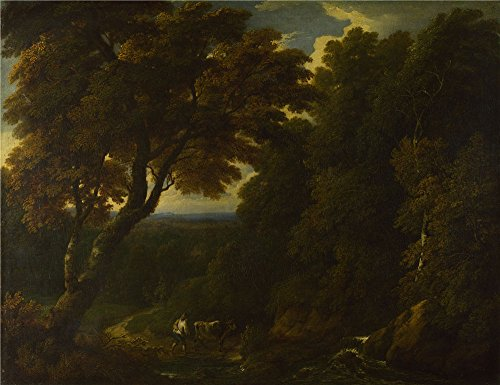 [Oil Painting 'Jan Baptist Huysmans A Cowherd In A Woody Landscape' 16 x 21 inch / 41 x 53 cm , on High Definition HD canvas prints is for Gifts And Home Theater, Living Room And Powder Room Decoration] (53 Carte 1 Light)
