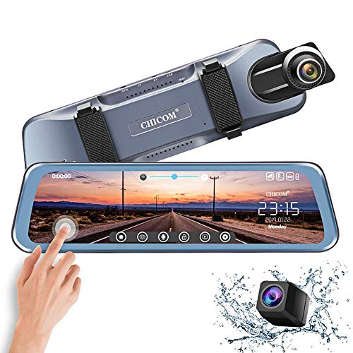 "CHICOM Mirror Dash Cam,Backup Camera 10"" Car Dash Camera Touch Screen 1080P Rearview Front and Rear Dual Lens with Waterproof Reversing Camera,Enhanced Night Vision,HDR"