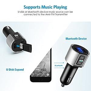AMIR Bluetooth FM Transmitter, Bluetooth Car Radio Adapter with Hands-free Talking, Wireless Car Kit with Dual USB Port