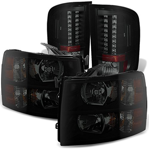For Black Smoked Fits 2007-2013 Chevy Silverado 1500 2500HD 3500 HD Headlights + LED Tail Lights Lamps