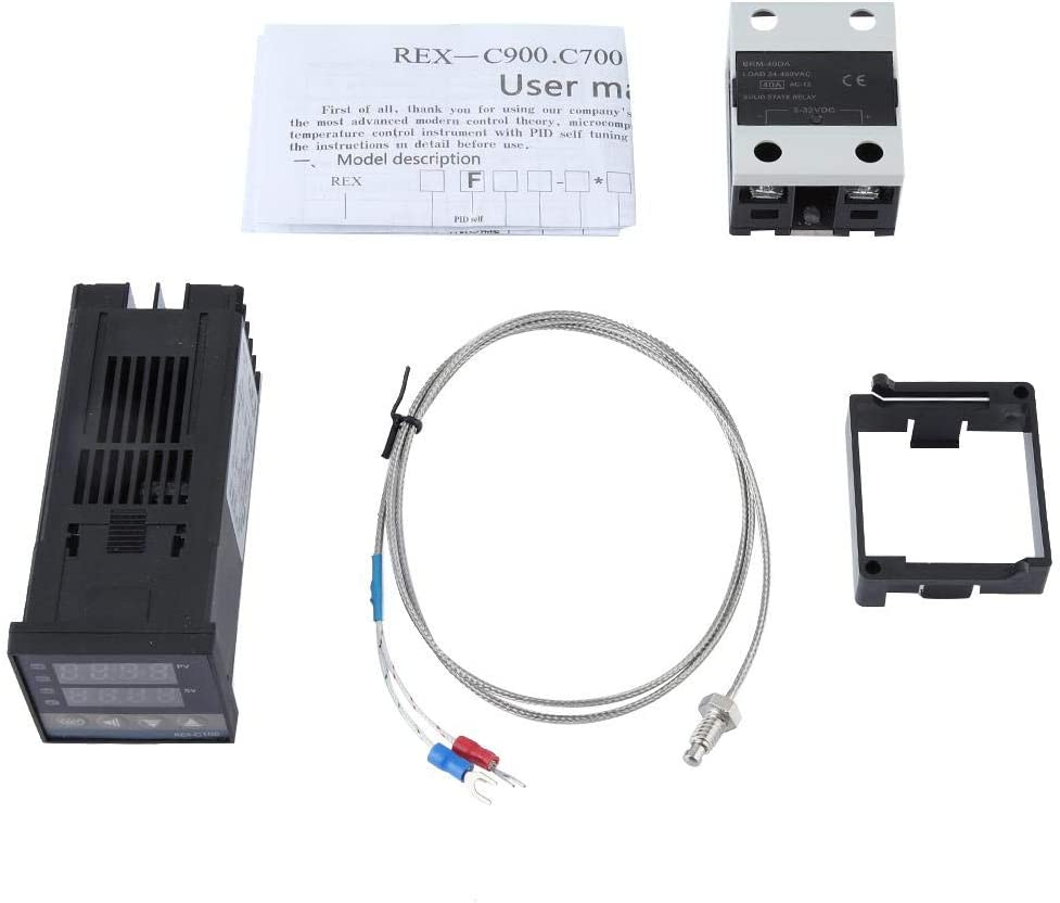 AC 110-240V PID Temperature Controller with Maximum 40A SSR Solid State Relay and 1M M6 K Type Thermocouple Probe PID Temperature Controller Kits