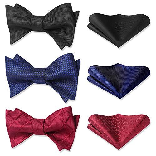HISDERN 3pcs Mixed Design Classic Men's Self-Tie Bow tie & Pocket Square - Multiple Sets
