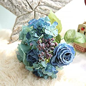 Nyalex 1 Bouquet 8 Heads Artificial Rose Flowers Elegant Blue Silk Flower Fake Leaf Wedding Party Festival Home Art Decor 94