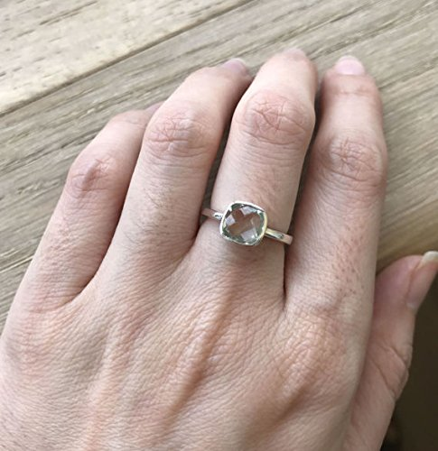 Square Stacking Ring (Green Amethyst Stackable Ring- February Birthstone Ring- Square Green Gemstone Ring- Sterling Silver Green Ring- Simple Small Ring)