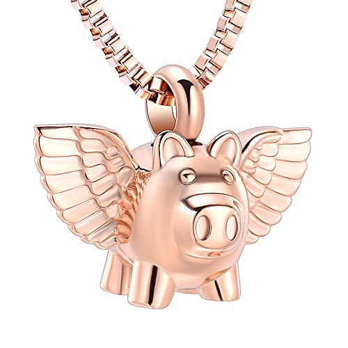 XSMZB Flying Pig Cremation Jewelry for Ashes Pendant Urn Necklace Stainless Steel Holder Ash for Pet/Human Keepsake Memorial Jewellery (Rose ()