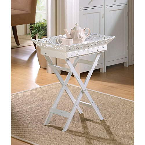 WHITE WOOD SHABBY COTTAGE CHIC ELEGANT FOLDING TRAY STAND TABLE NEW - Canada Sell Cards Gift Online