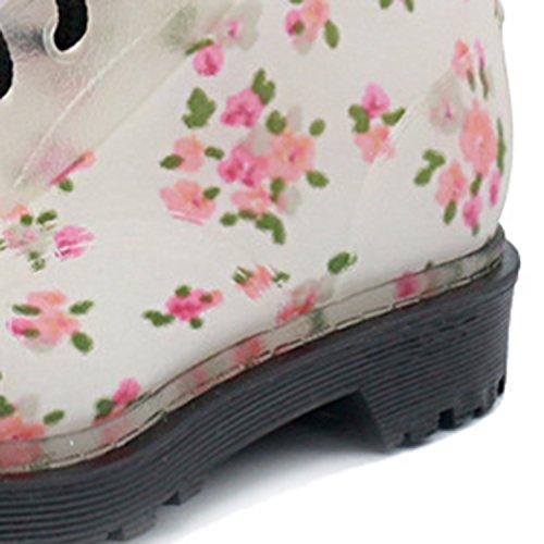 PVC Moda Negro Arriba de Cordón Botas de Floral Azbro Estampado Mujer Liuvia qRxAY8