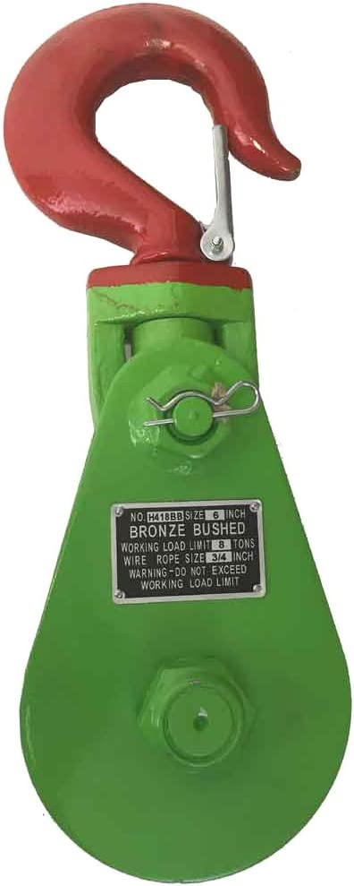 """Snatch Block with Hook Wire Rope Wrecker Roll Back Recovery 3"""" to 6"""", Up to 8 (8 Tons 6"""" Sheave)"""