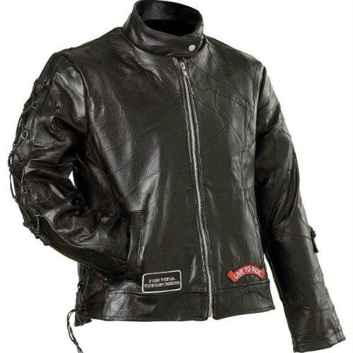 Diamond Plate Ladies Leather Moto JACKET- 4X