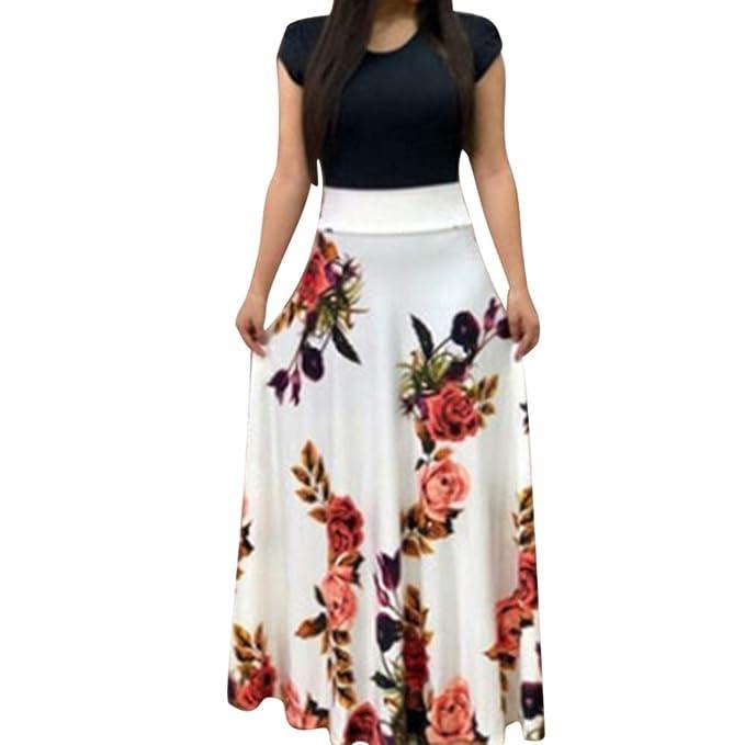 Mujer Vestido Fiesta Largo Manga Corta Floral Print Casual Verano Maxi Vestidos Playa Vacaciones