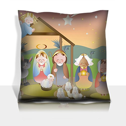 Liili Throw Pillowcase Polyester Satin Comfortable Decorative Soft Pillow Covers Protector sofa 16x16, 1pack small nativity scene with holy family a shepherd and magi IMAGE ID 16385745 by Liili