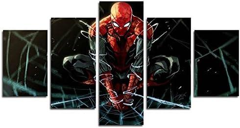Pittura Per Pareti Ufficio.Yspgart66 Stampa Pittura Su Tela 5 Pezzi Spiderman Supereroe