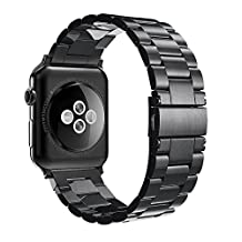 [New Release]Apple Watch Band 42mm,Simpeak Stainless Steel Band Strap for Apple Watch 42mm Series 1 Series 2 - Black