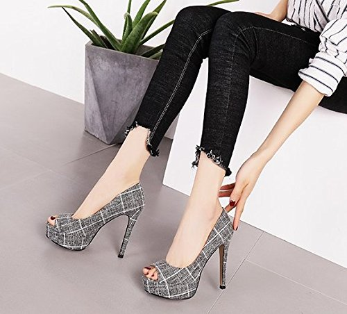 Elegant Spring Waterproof Gray Lady Mouth Heels Work Lattices 36 Single Fine Fish Shoes Temperament Heel Leisure Face Cloth MDRW Fashion Platform 11Cm 5wFqxq