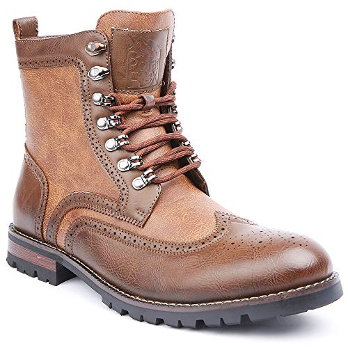 Polar Fox Cohen MPX808586 Mens Wingtip Motorcycle Combat Boots with Zipper - Brown, Size 11 ()