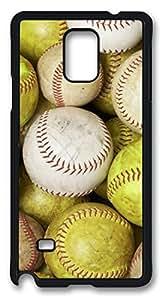 Baseball Design DIY Hard Shell Black Best Fashion Samsung Galaxy Note 4 Case