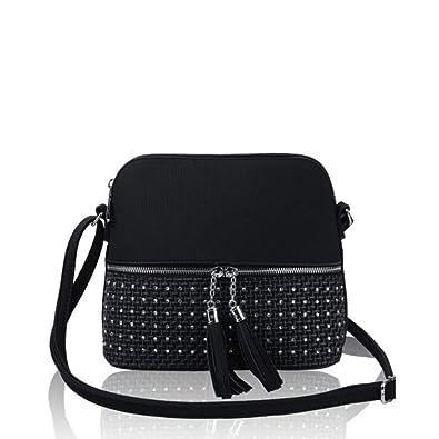Craze London Women s Small Shoulder Messenger Handbag Ladies Tassel Zip  Cross-body Bag Purse 69165fe6468e0