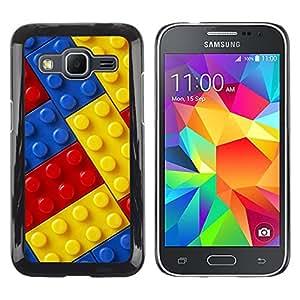 KOKO CASE / Samsung Galaxy Core Prime SM-G360 / juguete amarillo azul rojo del kit de construcción de los niños / Delgado Negro Plástico caso cubierta Shell Armor Funda Case Cover
