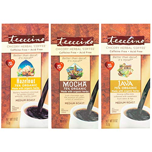 Teeccino Chicory Herbal Coffee Variety Pack (Java, Mocha, Hazelnut), Caffeine Free, Acid Free, Coffee Alternative, Prebiotic, 11 Ounce (Pack of 3)