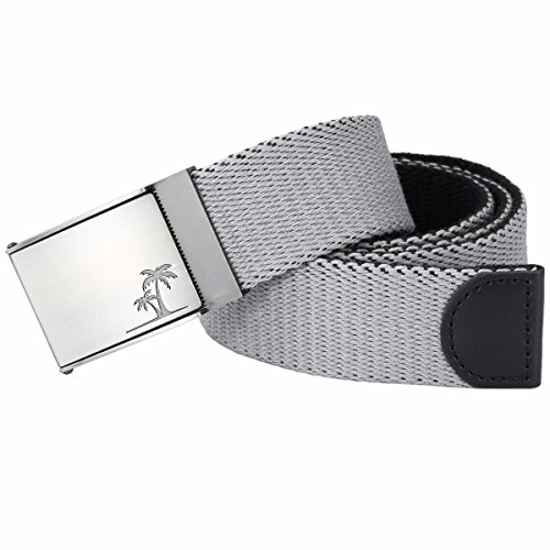 Samtree Men Women's Military Style Canvas Web Belt Removable Flip Top Buckle (Grey)