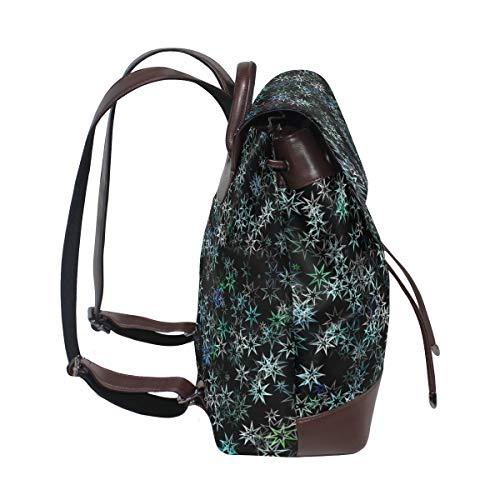 Kvinnor PU-läder skinande stjärnor mönster ryggsäck handväska resa skola axelväska ledig dagväska