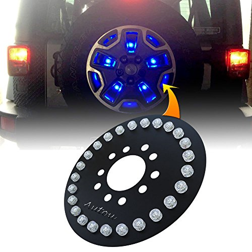 Autou Spare Tire 3rd Brake Light 25 PCS Blue LED Blubs for Jeep Wrangler JK YJ TJ 1986-2017