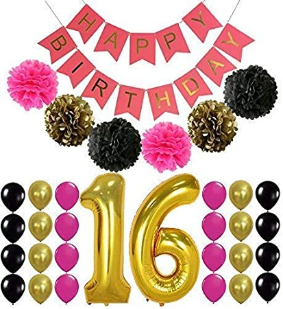 16th Birthday Party Supplies Decorations Hot Pink Happy Birthday Banner Sign Number 16