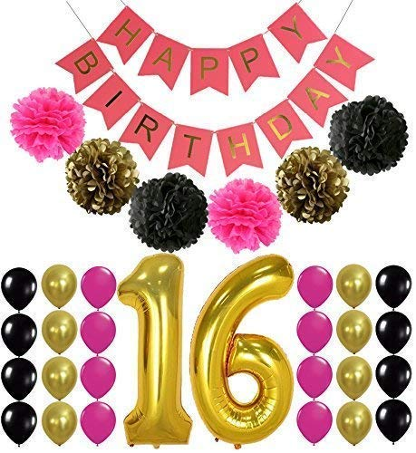 16th BIRTHDAY PARTY SUPPLIES DECORATIONS - Hot Pink Happy Birthday Banner Sign, Number 16 Mylar Balloon,Pink Gold Black Latex Ballon, Great Sweet 16 Party Supplies Free Printable Bday Checklist ()