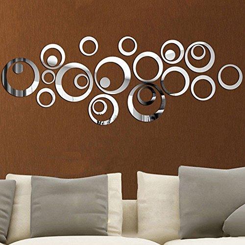 aooyaoo Circle Mirror DIY Wall Sticker Wall Decoration 24pcs Grey 2