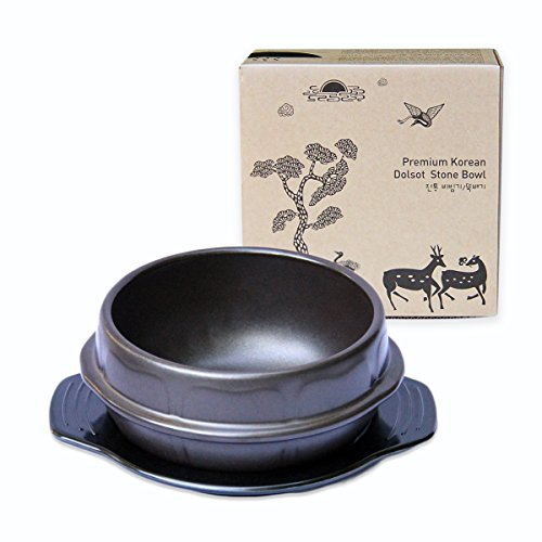 Crazy Korean Cooking Stone Bowl (Dolsot), Sizzling Hot Pot for Bibimbap and Soup Premium Ceramic No Lid, Medium