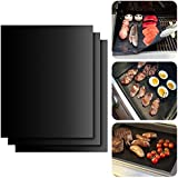 """BBQ Grill Mat, ISUDA Set of 3 16"""" X 13"""" Fiberglass Fabric Nonstick Reusable Grilling Accessories -Works on Gas, Charcoal, Ovens, Electric Grill and More"""