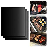 ISUDA Nonstick Miracle BBQ Grill Mat with Ebook, Grill Mat Perfect for Charcoal, Electric and Gas Grill - Easy to Clean - Set of 3 - Essential Grilling Accessories for Home Cooks and Grillers